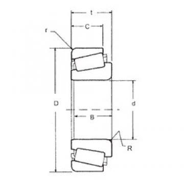 38,1 mm x 72,1 mm x 16,52 mm  FBJ 19150/19283 Rolamentos de rolos gravados
